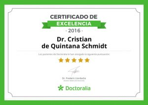 Certificado de excelencia Doctor de Quintana